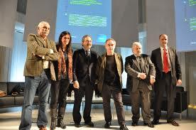 D'esquerra a dreta. Eudald Carbonell (Director del IPHES -Institut Català de Paleoecologia Humana i Evolució Social), Inmaculada Grau (Directora de forumclinic), Kim Faura (Director General de Telefónica en Catalunya), Ferran Adrià (Director de El Bu